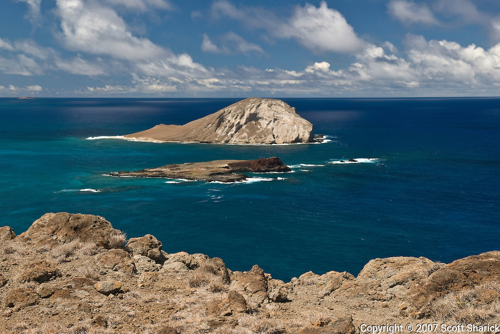 A view of Rabbit Island, also known as Manana Island, on the east end of the island of Oahu in the state of Hawaii.