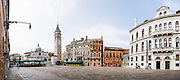 "This panorama of Campo Santa Maria Formosa in Venice was stitched from 7 overlapping photos. The Church of Santa Maria Formosa, built in 1492, is Renaissance architect Mauro Codussi's architectural masterpiece. The square known as Campo Santa Maria Formosa is in Castello sestiere, in Venice, Italy, Europe. Two façades were commissioned: in 1542, the Renaissance-style side facing the channel and in 1604, the Baroque side facing the square. Venice (Venezia) is the capital of Italy's Veneto region, named for the ancient Veneti people from the 900s BC. The romantic ""City of Canals"" stretches across 100+ small islands in the marshy Venetian Lagoon along the Adriatic Sea in northeast Italy, between the mouths of the Po (south) and Piave (north) Rivers. The Republic of Venice was a major maritime power during the Middle Ages and Renaissance, a staging area for the Crusades, and a major center of art and commerce (silk, grain and spice trade) from the 1200s to 1600s. The wealthy legacy of Venice stands today in a rich architecture combining Gothic, Byzantine, and Arab styles. This panorama was stitched from 7 overlapping photos."