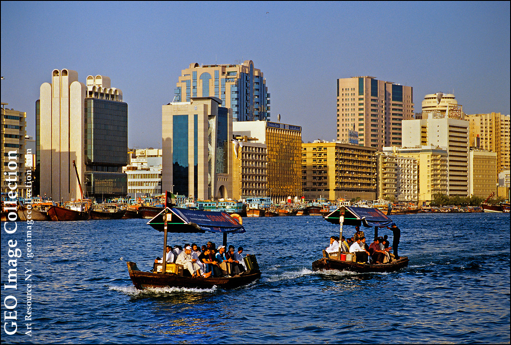 From local Emiratis to expatriate workers, tens of thousands of Dubai residents use water taxis to cross Dubai Creek, avoiding hours-long rush hour traffic jams. Dubai, one of seven  emirates<br /> <br />  That make up the United Arab Emirates, claims a population boom of more than 500 percent in recent decades, despite it being an autocratic city-state with a mixed human-rights record.