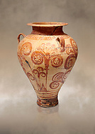 Minoan decorated pithos stirrup jar with floral design , Zafer Papoura 1400-1250 BC; Heraklion Archaeological Museum. .<br /> <br /> If you prefer to buy from our ALAMY PHOTO LIBRARY  Collection visit : https://www.alamy.com/portfolio/paul-williams-funkystock/minoan-art-artefacts.html . Type -   Heraklion   - into the LOWER SEARCH WITHIN GALLERY box. Refine search by adding background colour, place, museum etc<br /> <br /> Visit our MINOAN ART PHOTO COLLECTIONS for more photos to download  as wall art prints https://funkystock.photoshelter.com/gallery-collection/Ancient-Minoans-Art-Artefacts-Antiquities-Historic-Places-Pictures-Images-of/C0000ricT2SU_M9w