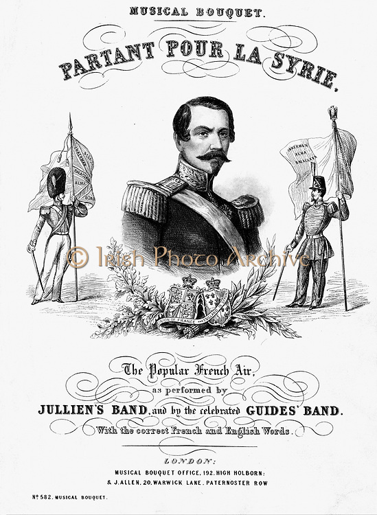 Napoleon III (Louis-Napoleon) 1808-73. Emperor of the French 1852-70. Portrait engraving from cover of sheet music published at the time of his visit to London with Empress Eugenie, April 1855 and celebrating French/British co-operation during the Crimean War. Music included 'Partant pour la Syrie' by his mother Hortense Beauharnais, Napoleon's stepdaughter.