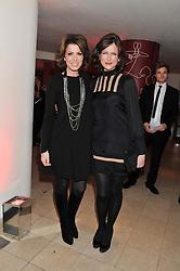 Left to right, NATASHA KAPLINSKY and KATIE DERHAM at the 2011 Costa Book Awards held at Quaglino's, 16 Bury Street, London on 24th January 2012.