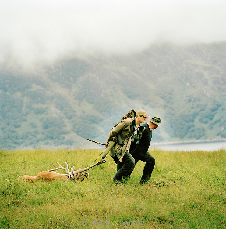 Huntsmen drag a Stag, a male deer, they have killed in Knoydart in the highlands of Scotland, UK