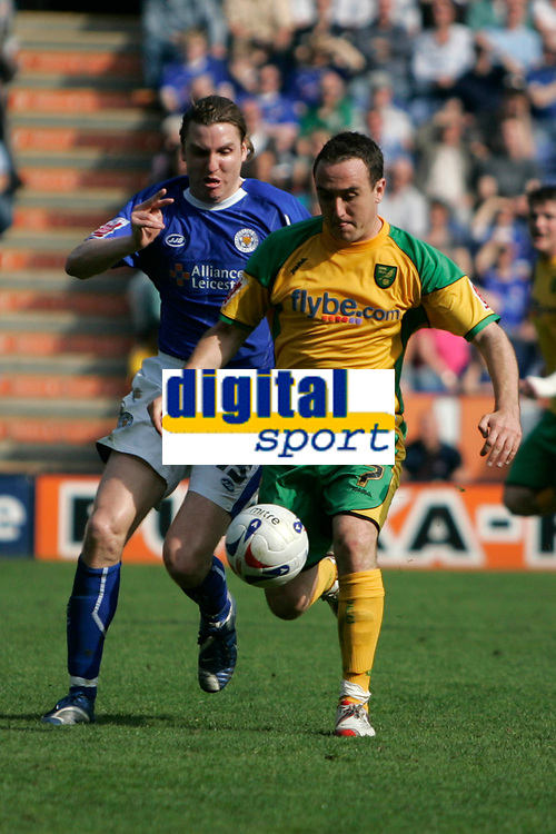 Photo: Pete Lorence.<br />Leicester City v Norwich City. Coca Cola Championship. 14/04/2007.<br />Nils-Eric Johansson and Lee Croft battle for the ball.