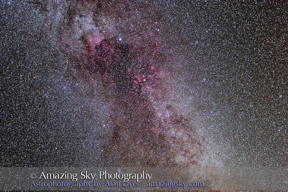 Cygnus, for stack of 4 x 5 minute exposures with 35mm L-series lens at f/2.8 and Canon 20Da camera at ISO 400. Oriented in true N-S orientation. Contains North America Nebula and Northern Coal Sack. Glow layer added to soften stars.