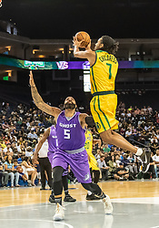 July 6, 2018 - Oakland, CA, U.S. - OAKLAND, CA - JULY 06: Josh Childress (7) co-captain of the Ball Hogs gets up over Carlos Boozer (5) co-captain of Ghost Ballers during game 2 in week three of the BIG3 3-on-3 basketball league on Friday, July 6, 2018 at the Oracle Arena in Oakland, CA (Photo by Douglas Stringer/Icon Sportswire) (Credit Image: © Douglas Stringer/Icon SMI via ZUMA Press)