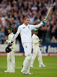 File photo dated 27-08-2010 of England's Stuart Broad celebrates reaching his century during the Fourth npower Test match at Lord's Cricket Ground, London.
