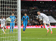 England's Wayne Rooney scoring his sides opening goal<br /> <br /> - International European Qualifier - England vs Slovenia- Wembley Stadium - London - England - 15th November 2014  - Picture David Klein/Sportimage
