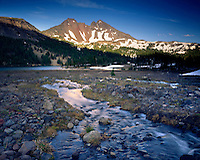 Broken Top Mountain from Green Lakes Basin, Three Sisters Wilderness Oregon