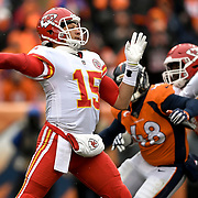 Kansas City Chiefs quarterback Patrick Mahomes (15) completed a 51-yard pass for his first career completion against the Denver Broncos on December 31, 2017 at Sports Authority Field in Denver, CO.