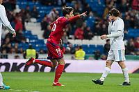 Real Madrid Mateo Kovacic and CD Numancia Guillermo Fernandez celebrating a goal during King's Cup match between Real Madrid and CD Numancia at Santiago Bernabeu Stadium in Madrid, Spain. January 10, 2018. (ALTERPHOTOS/Borja B.Hojas)