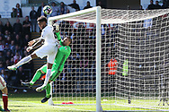 Leroy Fer of Swansea city (l) is denied by Middlesbrough goalkeeper Victor Valdes late in the game. Premier league match, Swansea city v Middlesbrough at the Liberty Stadium in Swansea, South Wales on Sunday 2nd April 2017.<br /> pic by Andrew Orchard, Andrew Orchard sports photography.