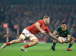 Ross Moriarty of Wales and Embrose Papier of South Africa  compete for the ball<br /> <br /> Photographer Simon King/Replay Images<br /> <br /> Under Armour Series - Wales v South Africa - Saturday 24th November 2018 - Principality Stadium - Cardiff<br /> <br /> World Copyright © Replay Images . All rights reserved. info@replayimages.co.uk - http://replayimages.co.uk