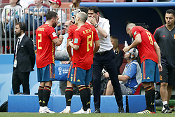 (l-r) Daniel Carvajal of Spain, Andres Iniesta of Spain, Spain coach Fernando Hierro, Andres Iniesta of Spain during the 2018 FIFA World Cup Russia round of 16 match between Spain and Russia at the Luzhniki Stadium on July 01, 2018 in Moscow, Russia