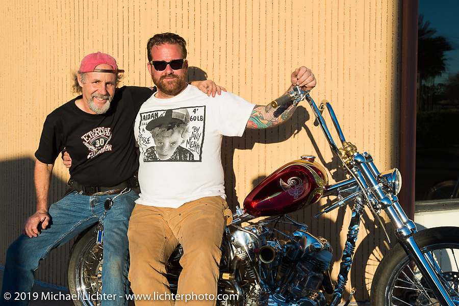 Michael Lichter and Bobby Seeger Jr at Willie's Tropical Tattoo annual Old School Bike Show during Daytona Bike Week. FL, USA. March 13, 2014.  Photography ©2014 Melissa Shoemaker.