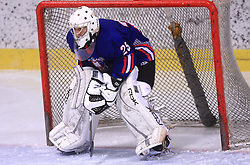 Goalkeeper Matija Pintaric at friendly ice-hockey game between Slovenian National Team U20 and HKMK Bled, before World Championship Division 1, Group A in Herisau, Switzerland, on December 11, 2008, in Bled, Slovenia. (Photo by Vid Ponikvar / Sportida)