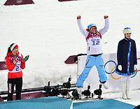 Skiskyting<br /> OL Sochi 2014<br /> 17.02.2014<br /> Foto: Gepa/Digitalsport<br /> NORWAY ONLY<br /> <br /> Olympische Winterspiele Sotschi 2014, Laura Center, Khrebet Psekhako, 12,5km Massenstart der Damen. Bild zeigt den Jubel von Darya Domracheva (BLR) und Tiril Eckhoff (NOR).