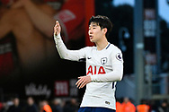 Son Heung-Min (7) of Tottenham Hotspur blows kisses to the Tottenham fans in celebration at full time after a 4-1 win over Bournemouth during the Premier League match between Bournemouth and Tottenham Hotspur at the Vitality Stadium, Bournemouth, England on 11 March 2018. Picture by Graham Hunt.