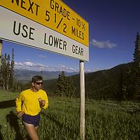 Jay Hass running atop Teton Pass near Jackson, Wyoming.