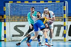 Nikola Karabatic of Paris Saint-Germain HB and Silva da Borges Diogo of RK Celje Pivovarna Lasko against Poteko Vid of RK Celje Pivovarna Lasko during handball match between RK Celje Pivovarna Lasko (SLO) and Paris Saint-Germain HB (FRA) in 11th Round of EHF Champions League 2019/20, on 9 February, 2020 in Arena Zlatorog, Celje, Slovenia. Photo Grega Valancic / Sportida