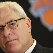 Phil Jackson talking to the media during the New York Knicks Press Conference announcing Jackson as the New President of the New York Knicks at Madison Square Garden, New York, USA. 18th March 2014. Photo Tim Clayton