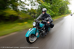 Joe Ferri riding his restored 1947 Indian Chief in the Cross Country Chase motorcycle endurance run from Sault Sainte Marie, MI to Key West, FL. (for vintage bikes from 1930-1948). Stage 1 from Sault Sainte Marie to Ludington, MI USA. Friday, September 6, 2019. Photography ©2019 Michael Lichter.