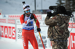 February 8, 2019 - Calgary, Alberta, Canada - Green Brendan (CAN) after his last race for team Canada before his retirement poses in front of a camera during Men's Relay of 7 BMW IBU World Cup Biathlon 2018-2019. Canmore, Canada, 08.02.2019 (Credit Image: © Russian Look via ZUMA Wire)