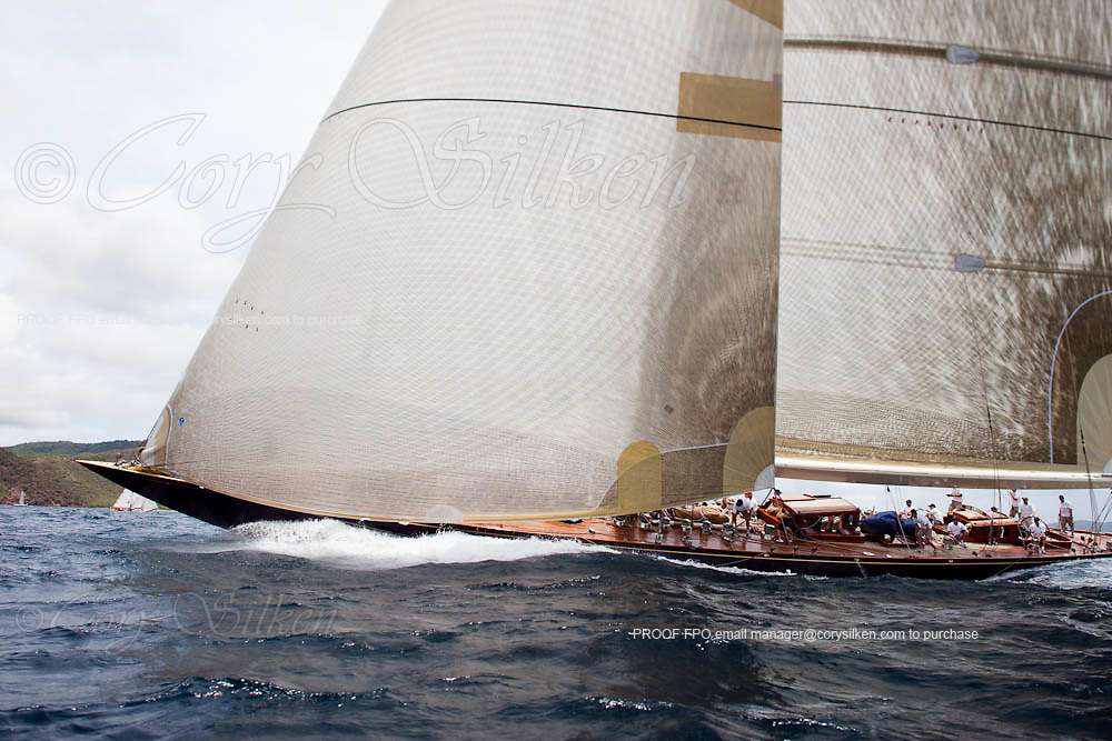 Velsheda, J Class, sailing in the 2010 Antigua Classic Yacht Regatta, Old Road Race, day 1.