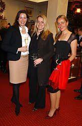 Left to right, LISA LINARD, VANESSA GALLOWAY and RACHEL HOBDAY at a drinks party for the Game Conservancy Trust's committee held at Williams & Son, 10 Mount Street, London WlK hosted by Willaim & Lucy Asprey on 6th December 2005.<br /><br />NON EXCLUSIVE - WORLD RIGHTS