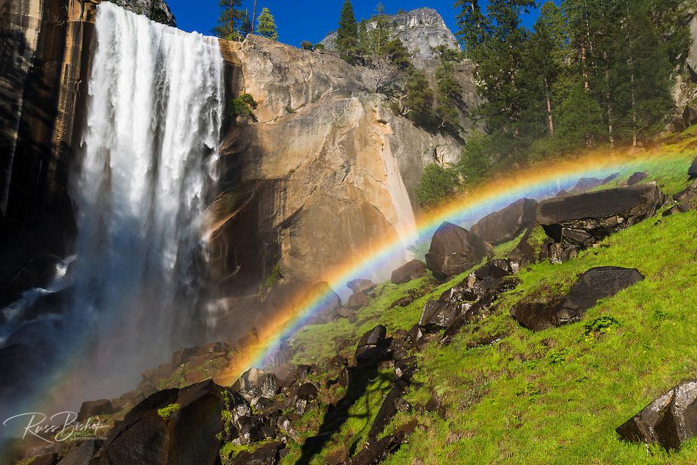 Vernal Fall and rainbow on the Mist Trail, Yosemite National Park, California USA