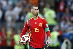 Sergio Ramos of Spain with the ball in his hands during the 2018 FIFA World Cup Russia round of 16 match between Spain and Russia at the Luzhniki Stadium on July 01, 2018 in Moscow, Russia