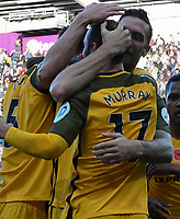Football - 2017 / 2018 Premier League - Swansea City vs. Brighton & Hove Albion<br /> <br /> Glenn Murray of Brighton and Hove Albion celebrates scoring his team's first goal, at The Liberty Stadium.<br /> <br /> COLORSPORT/WINSTON BYNORTH