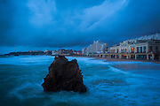 """Atlantic waves lash the resort town of Biarritz, in the Basque region of France. This mage can be licensed via Millennium Images. Contact me for more details, or email mail@milim.com For prints, contact me, or click """"add to cart"""" to some standard print options."""