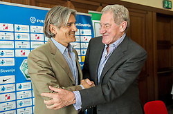 Rodolfo Vanoli with president Milan Mandaric during presentation of a new head coach of NK Olimpija, on April 22, 2016 in Austria Trend Hotel, Ljubljana, Slovenia. Photo by Vid Ponikvar / Sportida