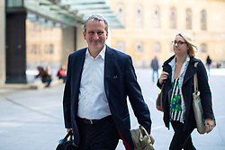 © Licensed to London News Pictures. 12/05/2019. London, UK. Education Secretary Damian Hinds (left) arriving at BBC Broadcasting House to appear on The Andrew Marr Show this morning. Photo credit : Tom Nicholson/LNP