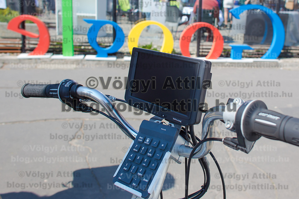 Computer section of the special trike recording photos for the Google Street View service during a press conference on the Hungarian launch of Google Street View in Budapest, Hungary on April 23, 2013. ATTILA VOLGYI