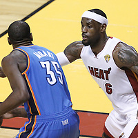 21 June 2012: Miami Heat small forward LeBron James (6) defends on Oklahoma City Thunder small forward Kevin Durant (35) during the Miami Heat 121-106 victory over the Oklahoma City Thunder, in Game 5 of the 2012 NBA Finals, at the AmericanAirlinesArena, Miami, Florida, USA. The Miami Heat wins the series 4-1.