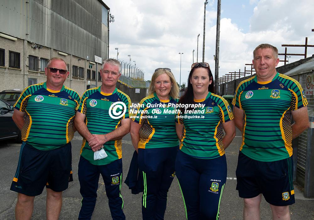 25-07-21. Meath v Dublin All-Ireland Intermediate Camogie Championship (Group 1) at Pairc Tailteann, Navan.<br /> Meath All-Ireland U-16 Camogie winning team mentors from left, Gerry Keoghan, Ken Forde, Geraldine Brien, Soyina Curran and Eddie O'Brien.<br /> Photo: John Quirke / www.quirke.ie<br /> ©John Quirke Photography, 16 Proudstown Road, Navan. Co. Meath. (info@quirke.ie / 046-9028461 / 087-2579454).