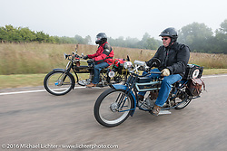 Two 4-cylinder 1913 Class-2 Hendersons heading down the road. Byrne Bramwell (L) of Ontario, Canada next to Jeff Tiernan of New York during the Motorcycle Cannonball Race of the Century. Stage-8 from Wichita, KS to Dodge City, KS. USA. Saturday September 17, 2016. Photography ©2016 Michael Lichter.