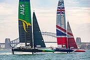 SailGP GBR Team and SailGP Australia Team  testing and practicing  in Sydney .