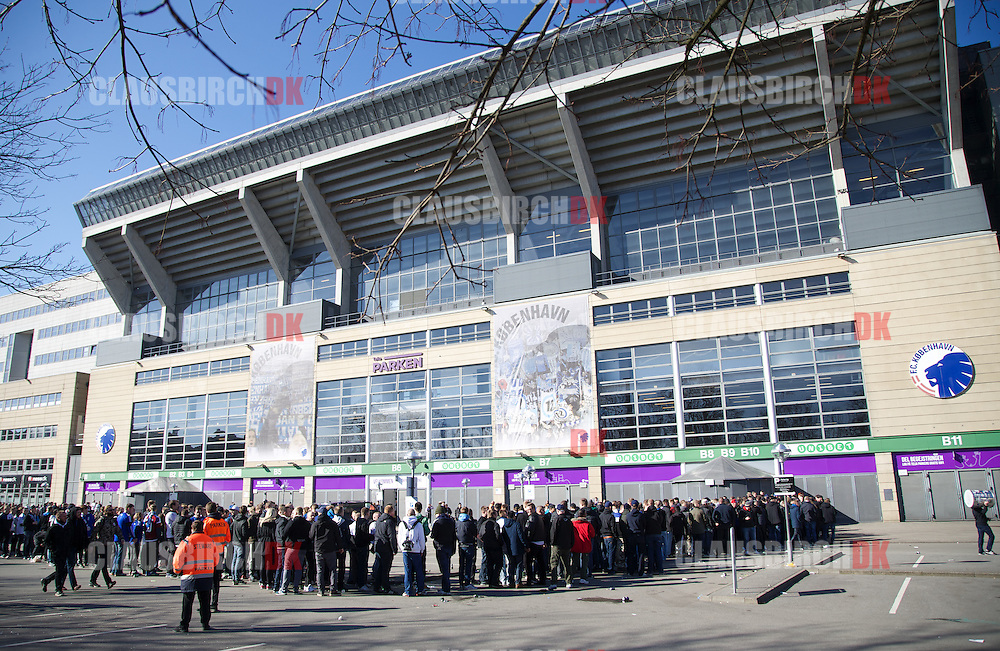 Supporters outside the stadium prior to the Danish Alka Superliga match between FC København and Brøndby IF at Telia Parken on March 8, 2015 in Copenhagen, Denmark. (Photo by Claus Birch)