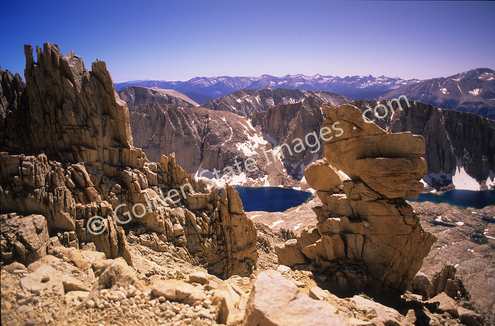 Mount Whitney in the High Sierra Mountains of California, is the tallest mountain in the lower 48 states. Elevation 14491 feet.