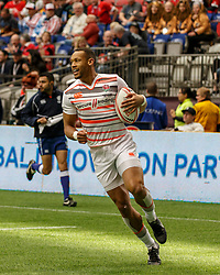March 10, 2018 - Vancouver, British Columbia, U.S. - VANCOUVER, BC - MARCH 10: Dan Norton (#4) of England outpaces Wales to score during Game # 5- England vs Wales Pool B match at the Canada Sevens held March 10-11, 2018 in BC Place Stadium in Vancouver, BC. (Photo by Allan Hamilton/Icon Sportswire) (Credit Image: © Allan Hamilton/Icon SMI via ZUMA Press)