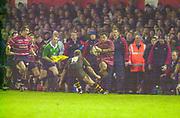 Gloucester, Gloucestershire, UK., 04.01.2003, Junior Paramore Wing attack, during, Zurich Premiership Rugby match, Gloucester vs London Wasps,  Kingsholm Stadium,  [Mandatory Credit: Peter Spurrier/Intersport Images],