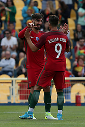June 3, 2017 - Lisbon, Portugal - Portugal's forward Andre Silva celebrates with Portugal's midfielder Andre Gomes (L ) after scoring during the friendly football match Portugal vs Cyprus at Antonio Coimbra da Mota Stadium in Estoril, outskirts of Lisbon, Portugal on June 3, 2017. (Credit Image: © Pedro Fiuza/NurPhoto via ZUMA Press)