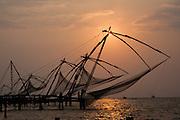 Chinese fishing nets in Kochi at sunset (India)
