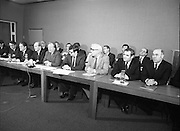 Fianna Fáil Front Bench at Press Conference January 1982..1982-01-14.14th January 1982..14/01/1982.01.14.82...Charles Haughey presents his front bench to the waiting media..Pictured at Leinster House..Front row From Left: ..Ray McSharry TD: Spokesman on Fisheries (partial)..Des O'Malley TD:.Spokeman on Industry and Commerce..Brian Lenihan TD:..George Colley TD: Deputy Leader and Spokesman on Energy..Charles Haughey TD: Leader of the Opposition..Ray Burke TD: Leader of the House..Sean Moore TD: Spokesman on Social Welfare..Gene Fitzgerald TD: Spokesman on Labour and Public Service..Martin O'Donoghue TD: Spokesman on Finance