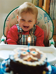 First birthday with cake and candles