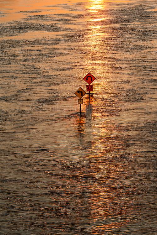 Street signs in flood of Trinity River, Dallas, Texas, USA