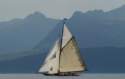 The Lady Anne, a 15 metre (95') Gaff Cutter built in 1912 under the peaks of Arran.<br /> <br /> This the largest gathering of classic yachts designed by William Fife returned to their birth place on the Clyde to participate in the 2nd Fife Regatta. 22 Yachts from around the world participated in the event which honoured the skills of Yacht Designer Wm Fife, and his yard in Fairlie, Scotland.<br /> <br /> FAO Picture Desk<br /> <br /> Marc Turner / PFM Pictures